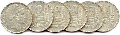 Lot de 6 pièces de 20 Francs argent de Turin...