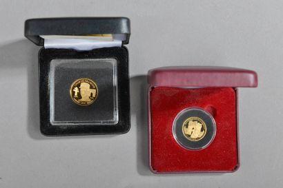 Deux médailles en or 585 millièmes dont