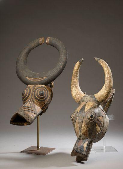 Deux masques BOBO, Burkina Faso.  Bois polychrome....