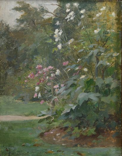 Georges BINET (1865-1949).  Coin de jardin...