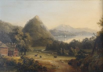 École suisse du XIXe siècle.  Hameau devant...