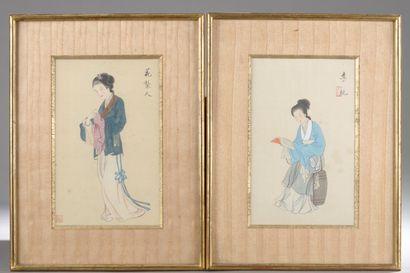 École chinoise du XXe siècle.  Jeunes femmes....