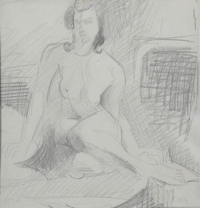 André LOTHE (1885-1962).  Femme assise.  Graphite...