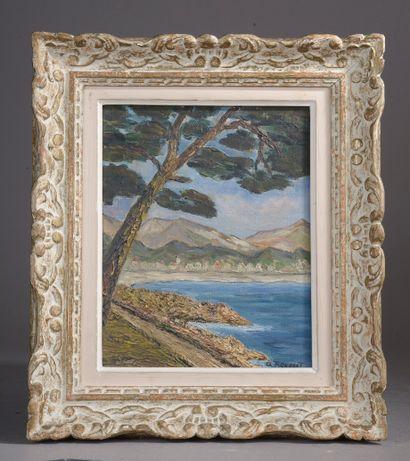 Charles ROUSSET (XXe siècle).  Paysage méditerranéen....