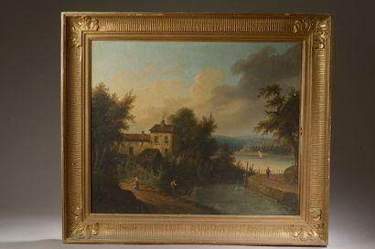 École du XIXe siècle.  Paysage lacustre à...