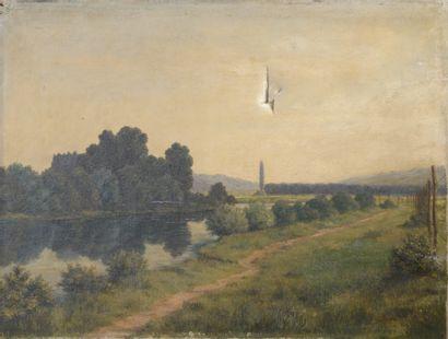 LACOUR (XIXe - XXe siècle).  Paysage de campagne...