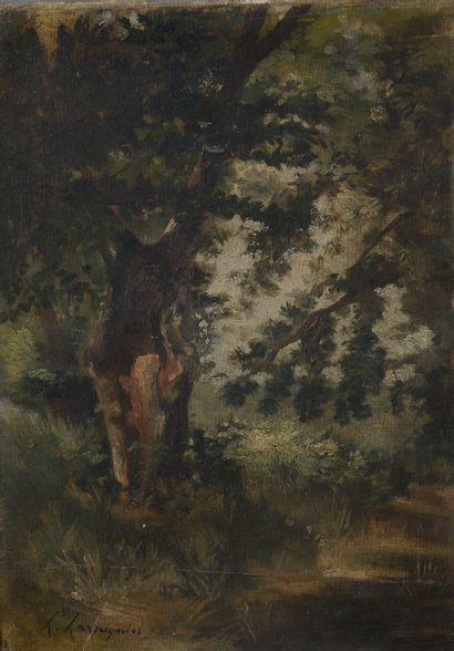 École du XXe siècle.  Paysage aux arbres....