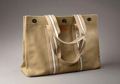 LONGCHAMP.  Bag in beige cotton canvas crossed...
