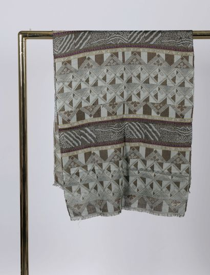 KENZO.    Cotton and linen blend scarf decorated...