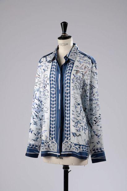 HERMÈS.  Silk shirt decorated in blue tones...