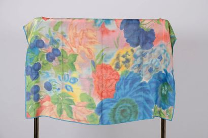 KENZO.  Woolen stole with polychrome floral...