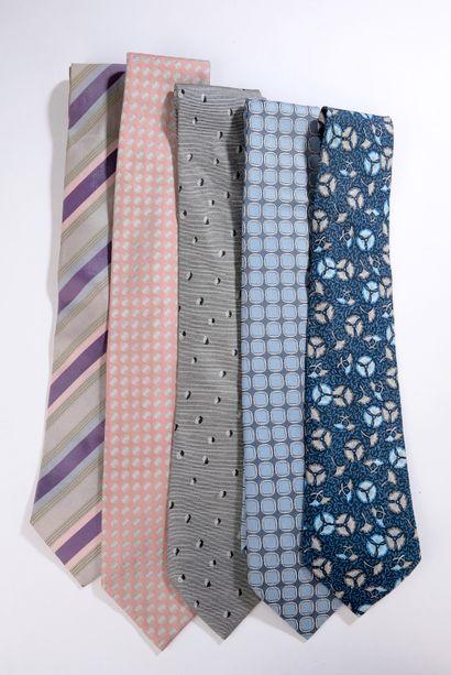 HERMÈS.    Set of five silk ties (wear on...
