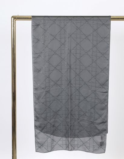 CHRISTIAN DIOR.  Grey silk stole embroidered...