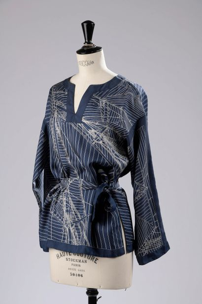 HERMÈS.  Long-sleeved silk blouse with Tunisian...