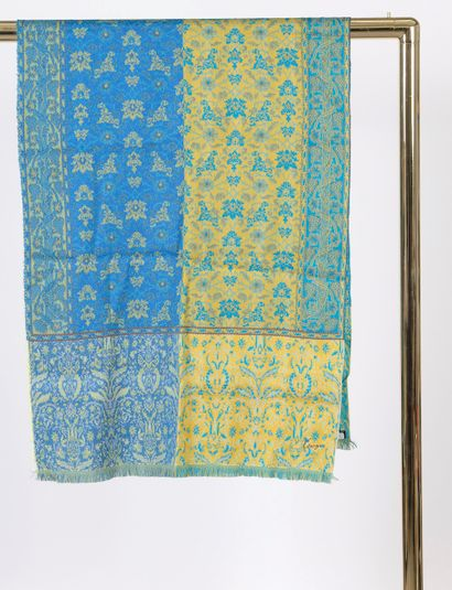 KENZO.  Wool blend scarf with blue, green...