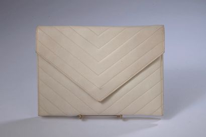 YVES SAINT LAURENT.  White leather clutch...