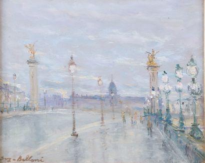 Serge BELLONI (1925-2005).  Le pont Alexandre...