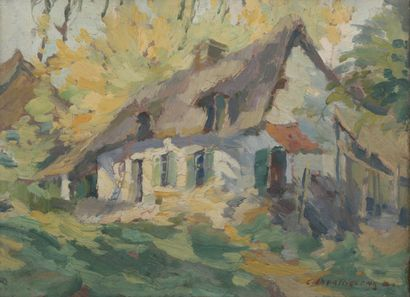 Camille BARTHELEMY (1890-1961).  Chaumière....