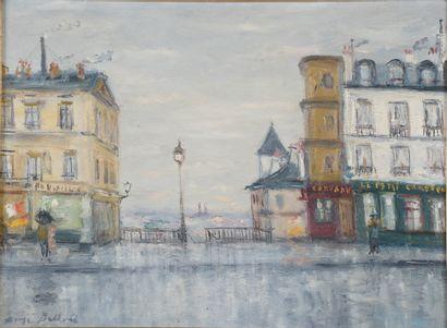 Serge BELLONI (1925-2005).  Une rue à Montmartre....