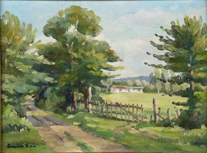 Émile BOU (1908-1989).  Paysage de campagne....