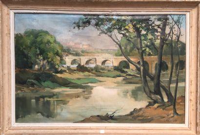 Lucien FOURNET (1902-1975).  Le Pont.  Huile...