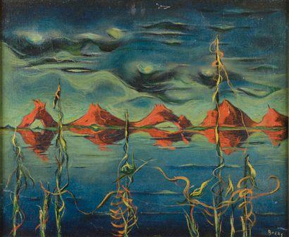 Frans BOERS (1904-1988).  Paysage surréaliste....