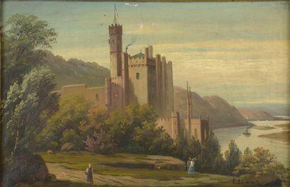 L. LAZARUS (XIXe siècle).  Château au bord...