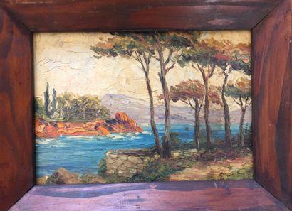 R. DEVAUX (XXe siècle).  Paysage de Méditerrannée...