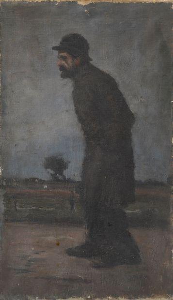École du XIXe siècle.  Homme au chapeau marchant....