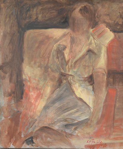 REJA (XXe siècle).  Portrait de femme assise....