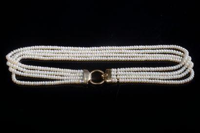 Collier à quatre rangs de perles de culture...