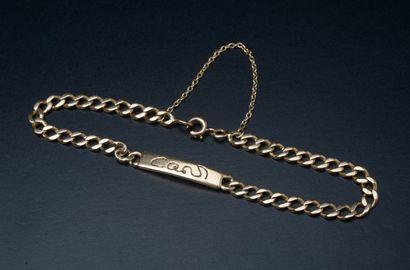 Petit bracelet gourmette en or jaune 18k,...