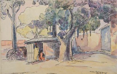 Pierre CASTAGNEZ (1898-1951).  Dakar.  Aquarelle...