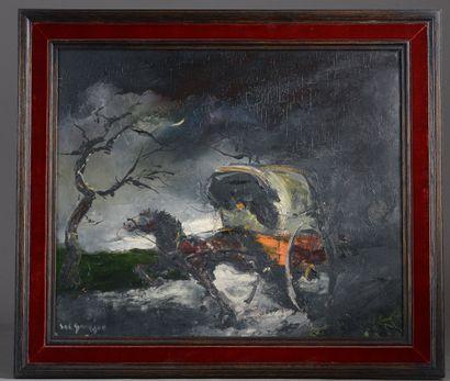Stéphane H.C. GOURJON (1912 - ?).  Calèche...