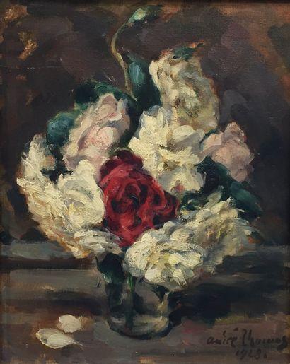 André THOMAS (XX).  Bouquet de fleurs.  Huile...