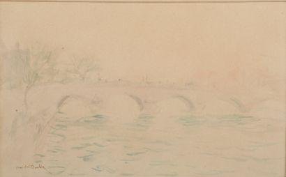 André BARBIER (1883-1970).  Le pont des Saints-Pères...