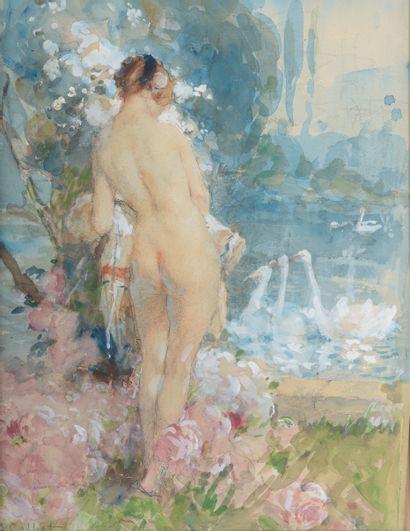 Antoine CALBET (1860-1944).  Léda.  Aquarelle...