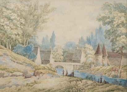 École du XIXe siècle.  Scène champêtre au...
