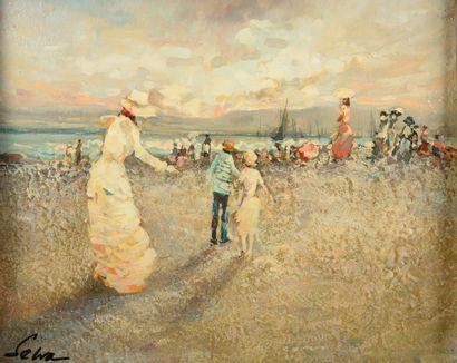 Marc SEVLA (1919-?).  Elégantes sur la plage....