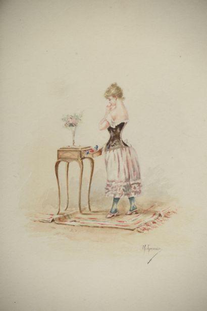 Madelaine LEMAIRE (1845-1928). Jeune femme...