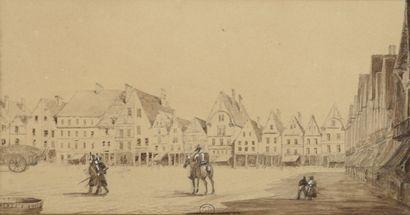 École du XIXe siècle. Scène animée sur une...