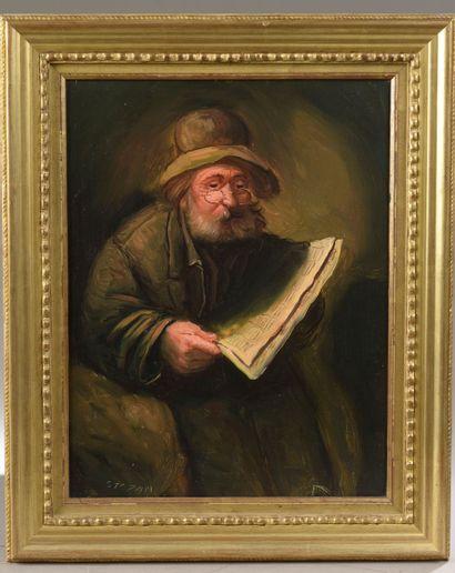 École du XXe siècle. Vieil homme lisant le...