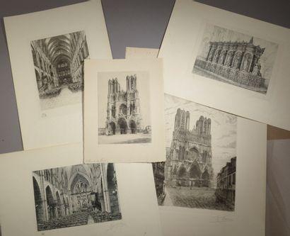 Suite de cinq gravures en noir ayant pour...