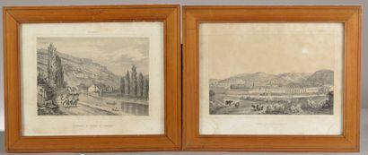 Deux gravures figurant la ville de Besançon...