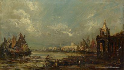 École du XIXe siècle. Venise. Huile sur panneau...