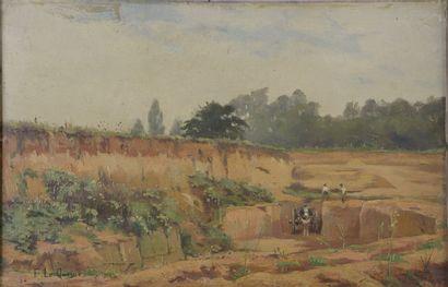 Fernand LEQUESNE (1856-1932). Charette et...