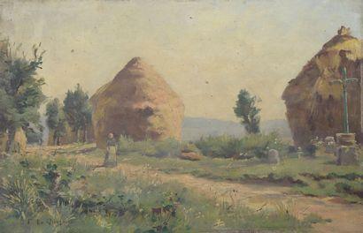 Fernand LEQUESNE (1856-1932). Paysanne devant...
