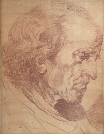 École néoclassique.  Portrait de vieil homme....