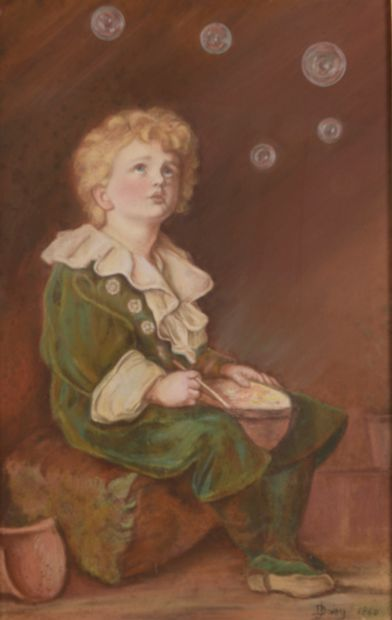 Emma M DROISY (1868-?).  Enfant souffleur...