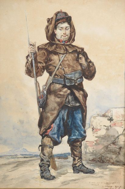 Georges CLAIRIN (1843-1919).  Soldat.  Aquarelle...